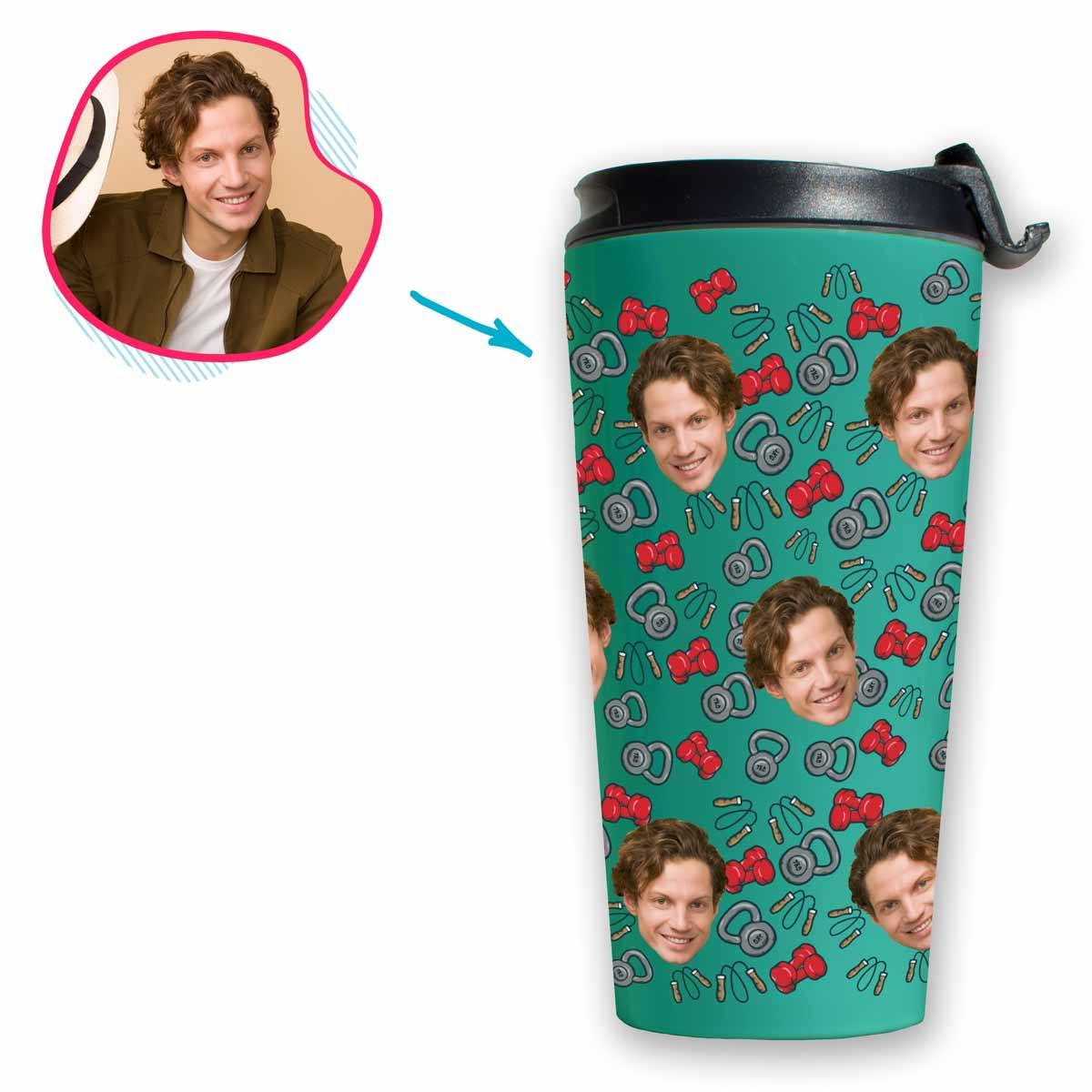 mint Gym & Fitness travel mug personalized with photo of face printed on it