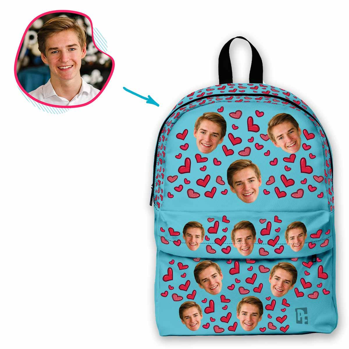 blue Heart classic backpack personalized with photo of face printed on it