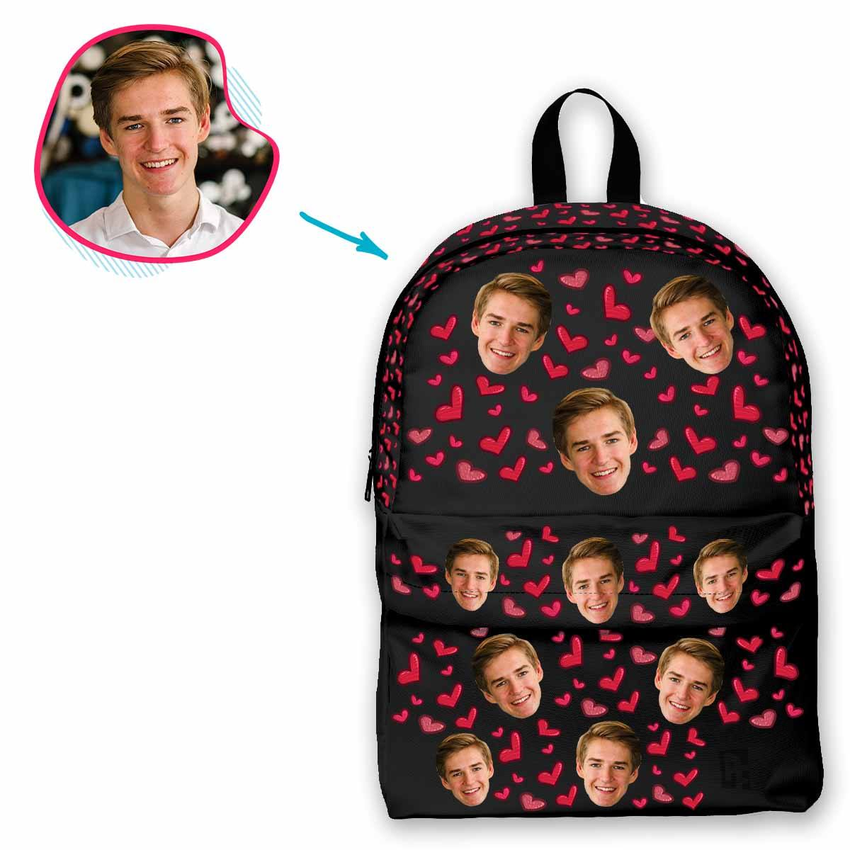 dark Heart classic backpack personalized with photo of face printed on it