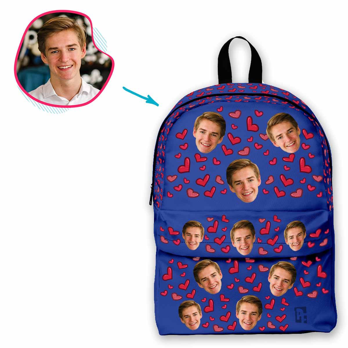darkblue Heart classic backpack personalized with photo of face printed on it