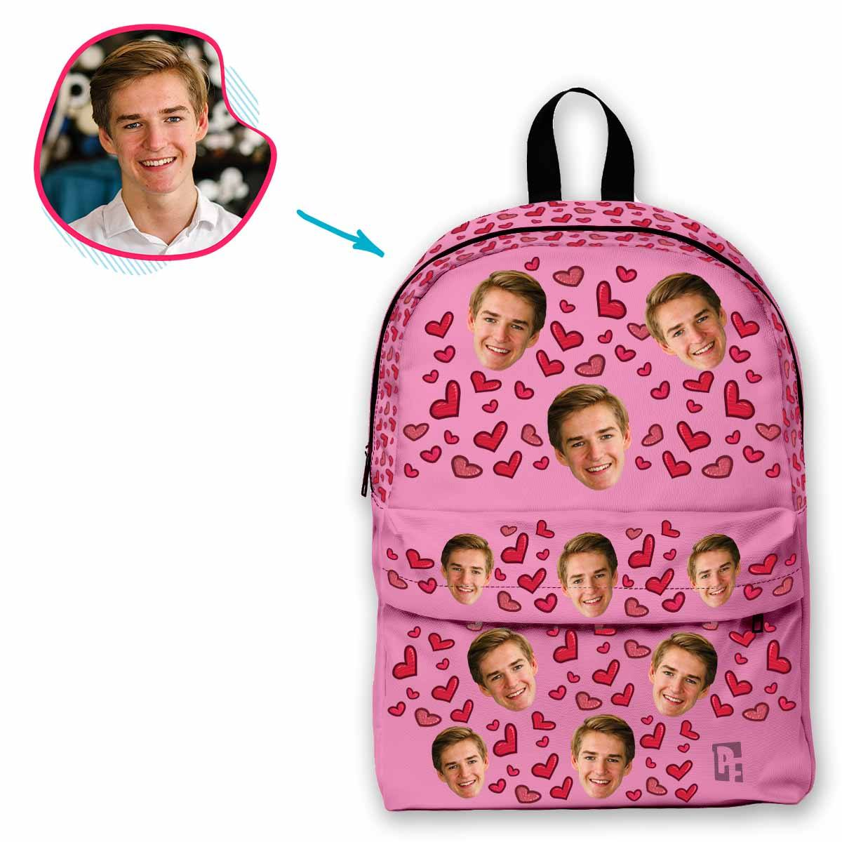 pink Heart classic backpack personalized with photo of face printed on it
