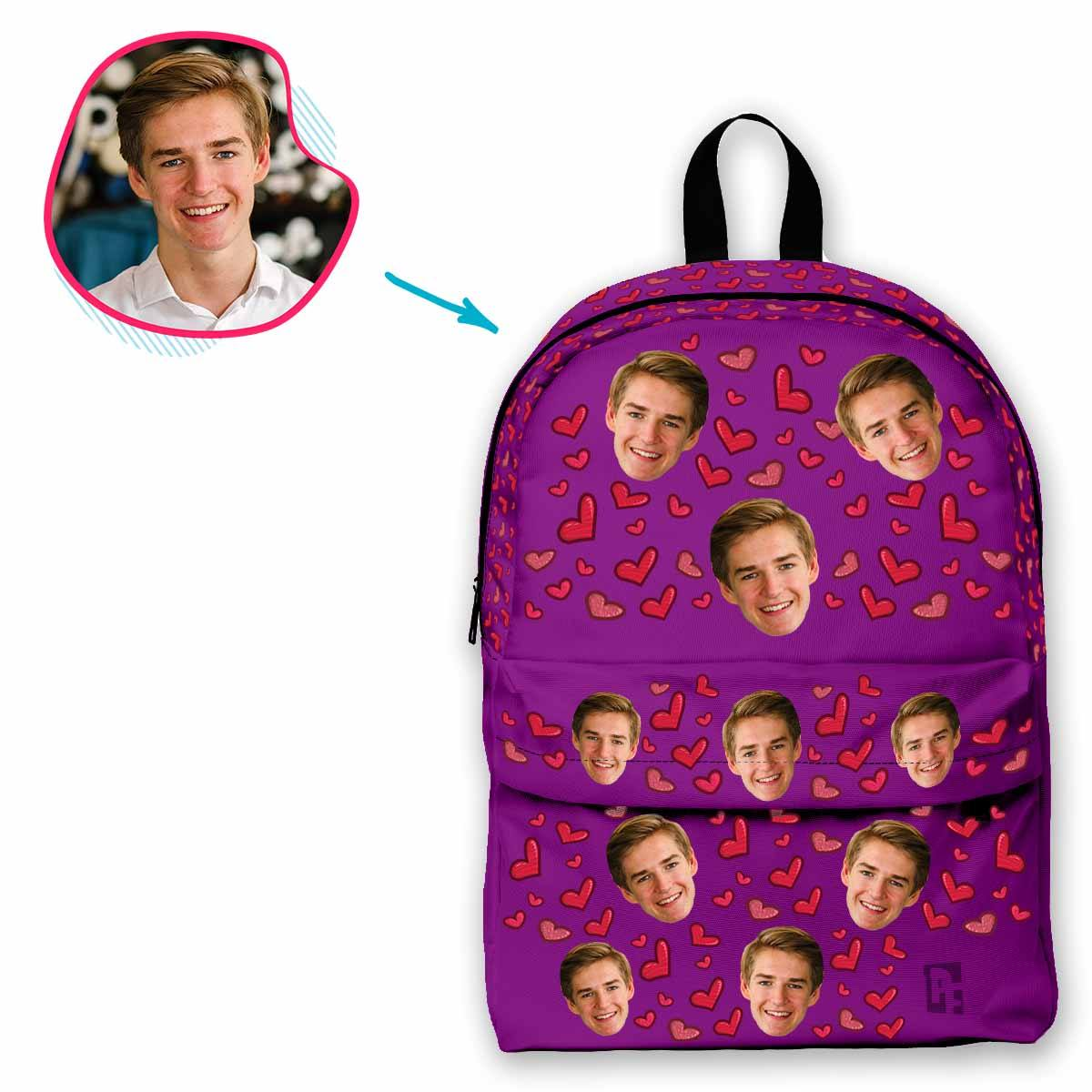 purple Heart classic backpack personalized with photo of face printed on it