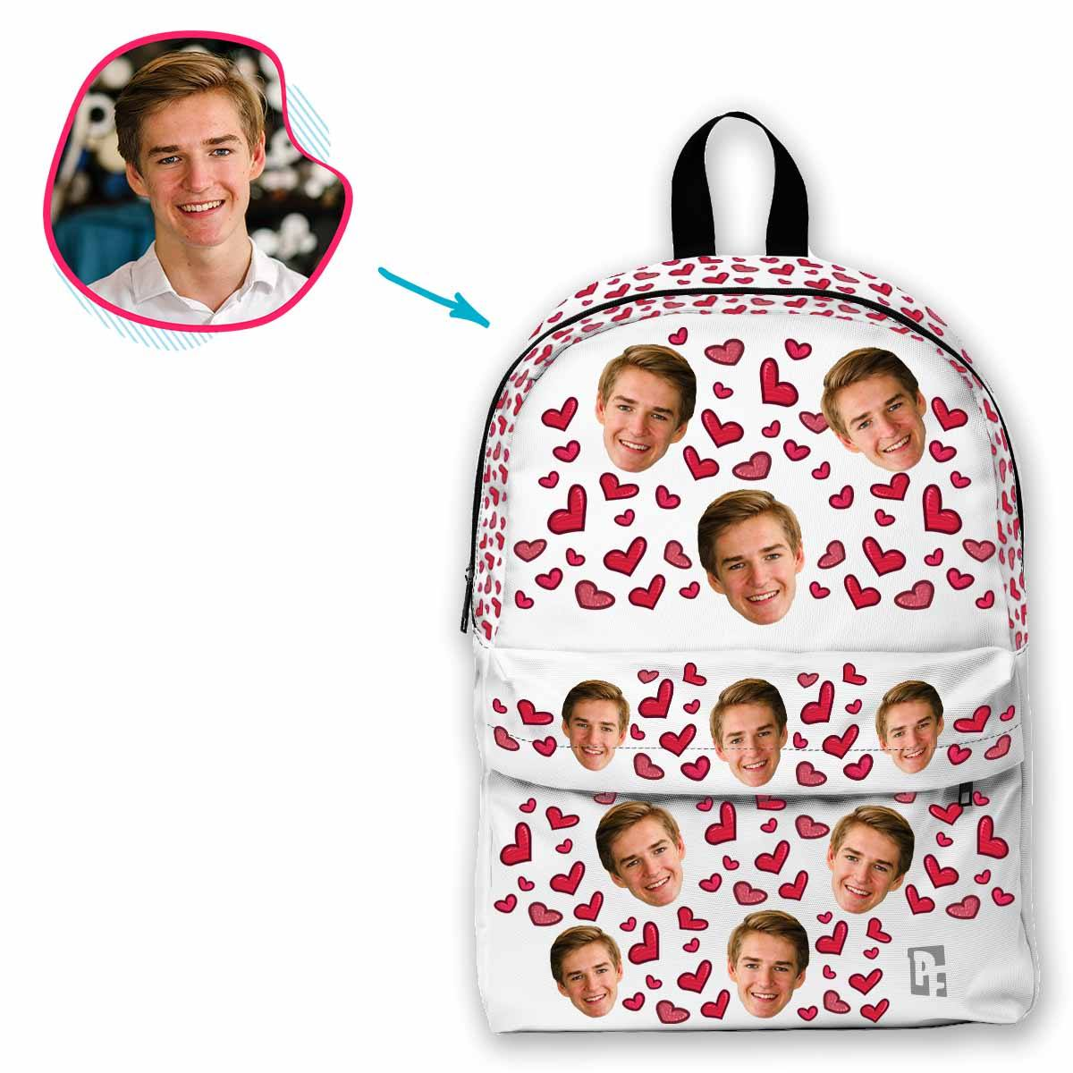 white Heart classic backpack personalized with photo of face printed on it