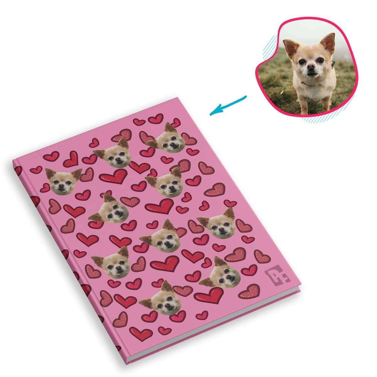 pink Heart Notebook personalized with photo of face printed on them