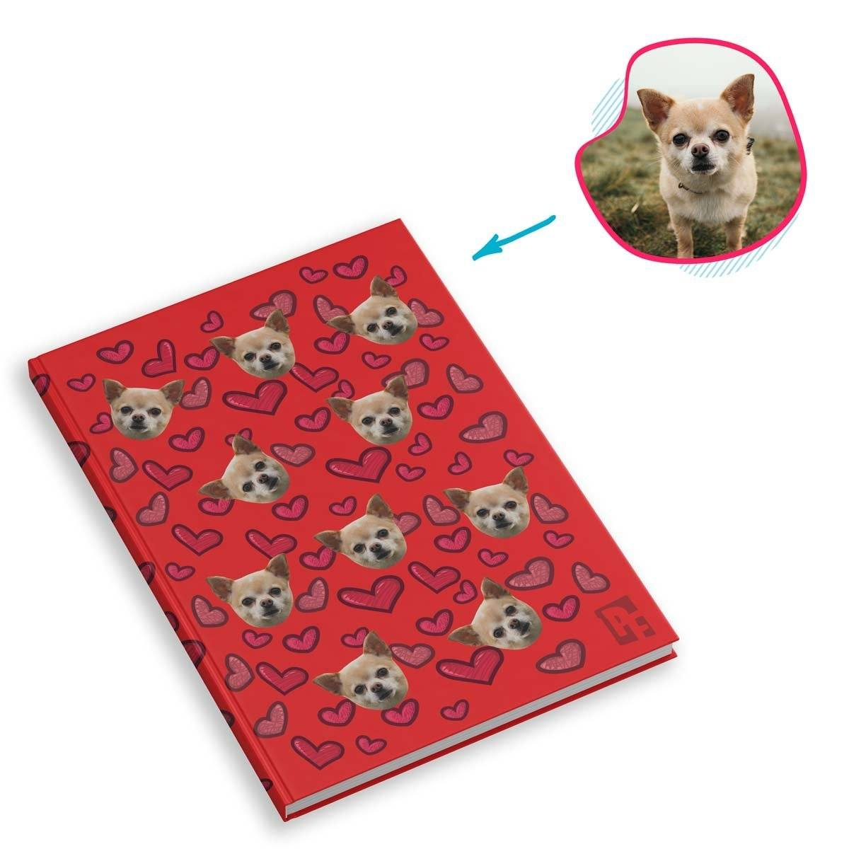 red Heart Notebook personalized with photo of face printed on them