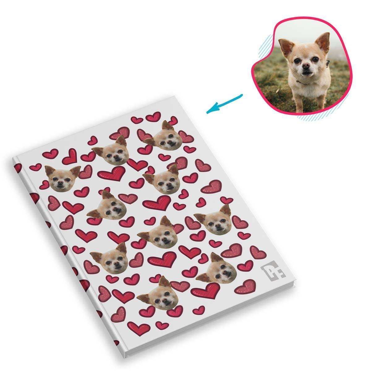 white Heart Notebook personalized with photo of face printed on them