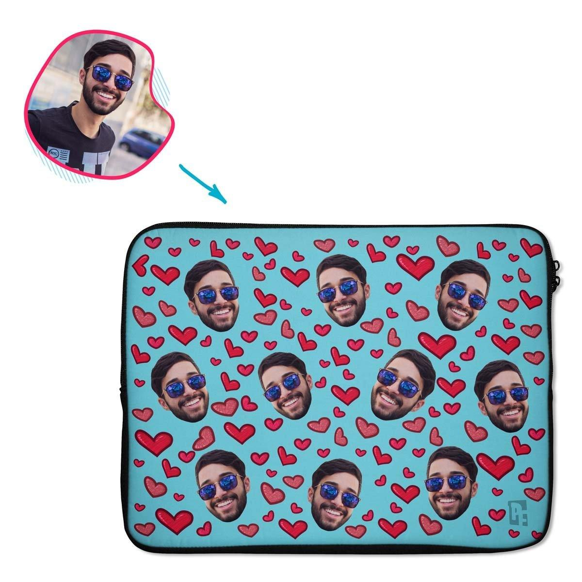 blue Heart laptop sleeve personalized with photo of face printed on them
