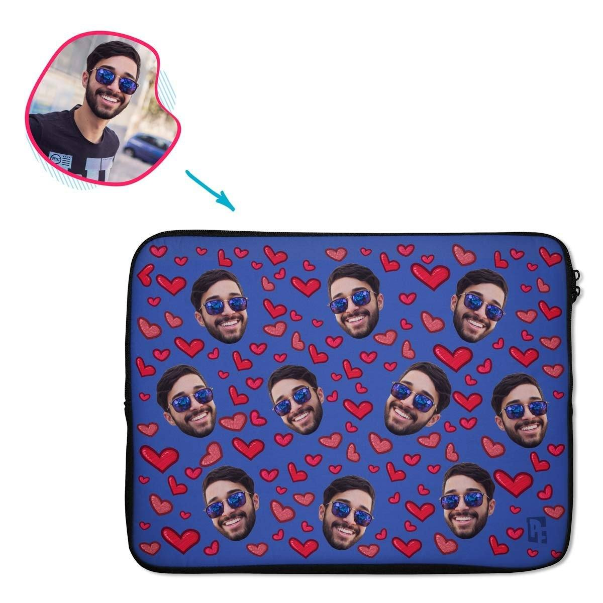 darkblue Heart laptop sleeve personalized with photo of face printed on them