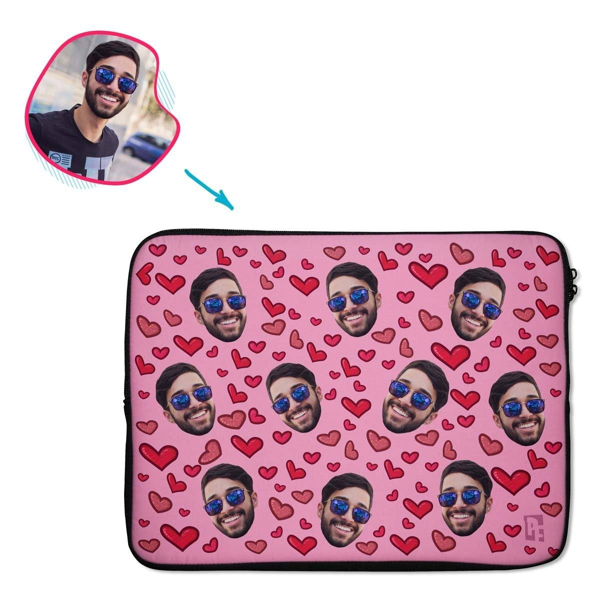 pink Heart laptop sleeve personalized with photo of face printed on them