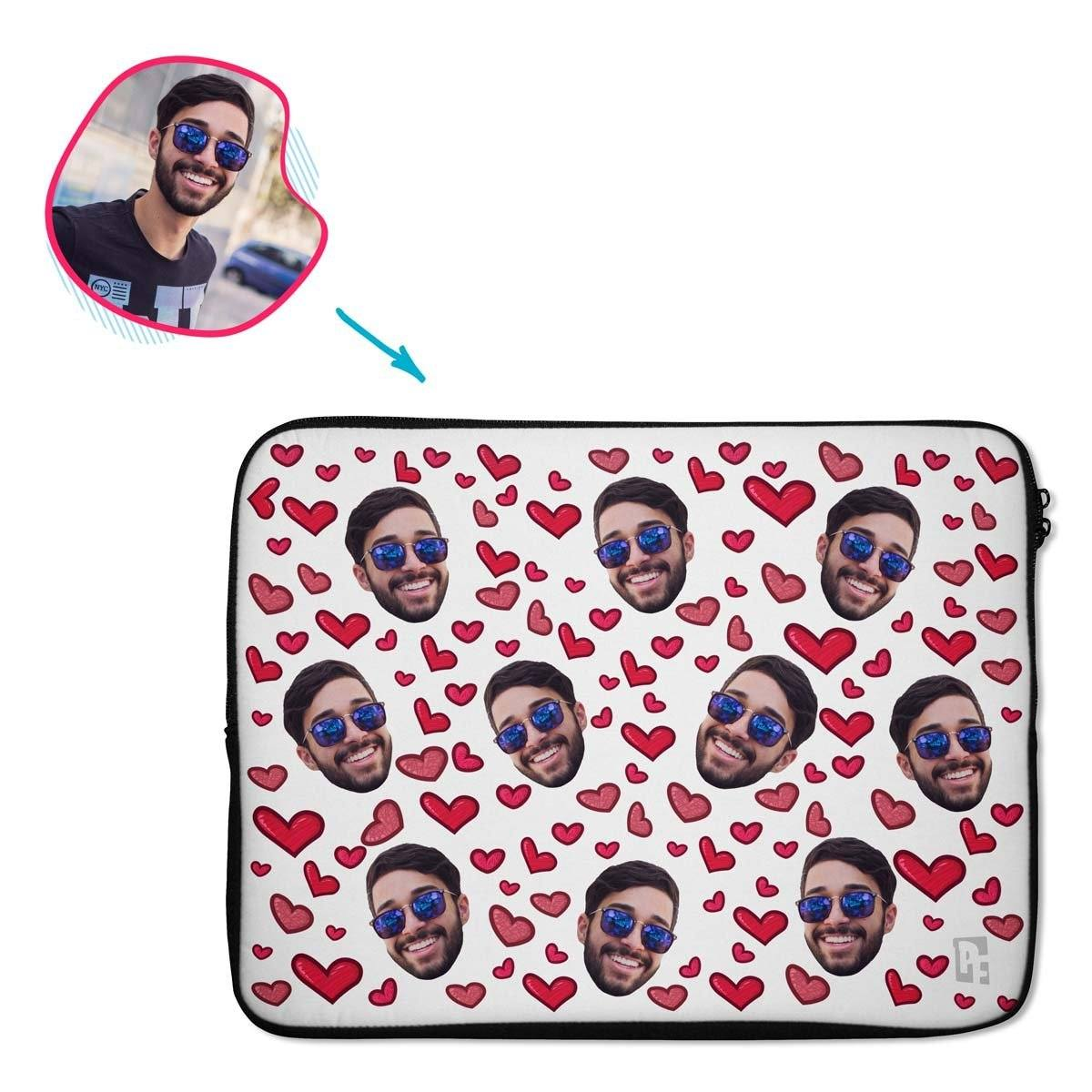 white Heart laptop sleeve personalized with photo of face printed on them