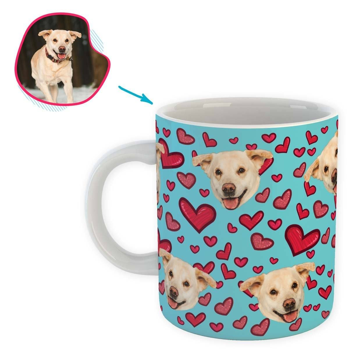blue Heart mug personalized with photo of face printed on it