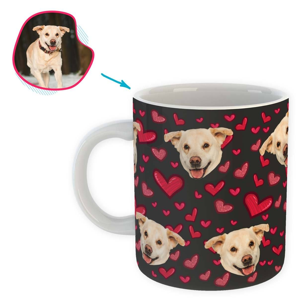 dark Heart mug personalized with photo of face printed on it