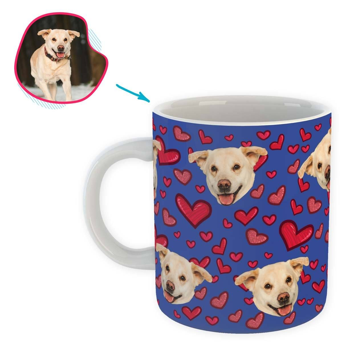 darkblue Heart mug personalized with photo of face printed on it