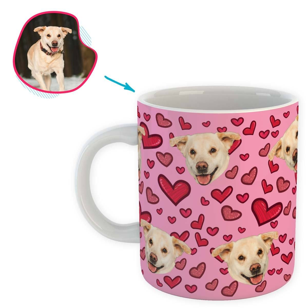 pink Heart mug personalized with photo of face printed on it