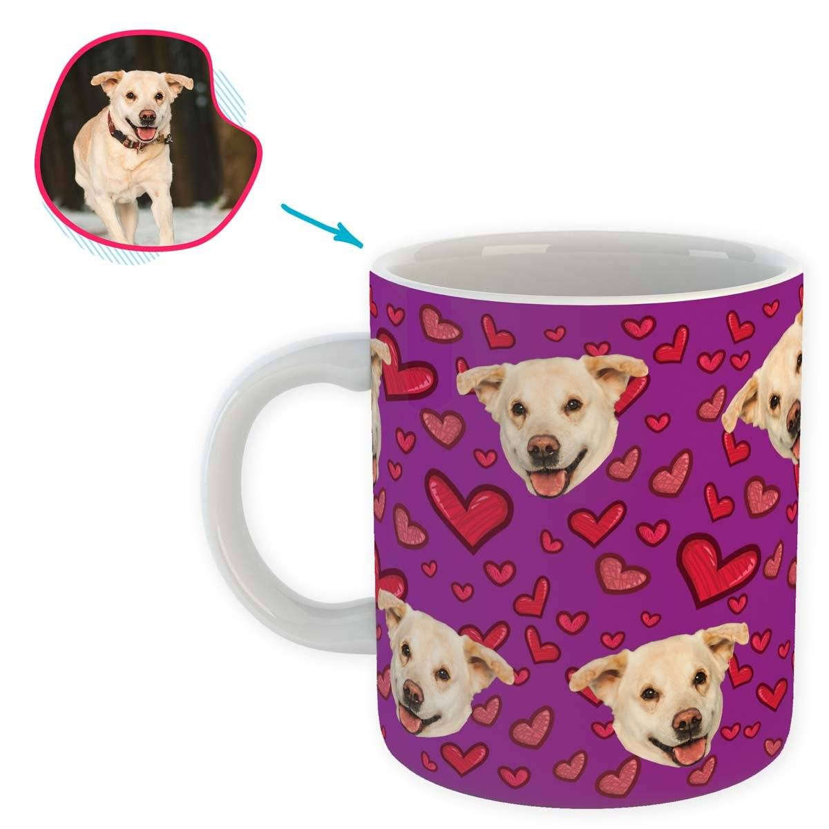 purple Heart mug personalized with photo of face printed on it
