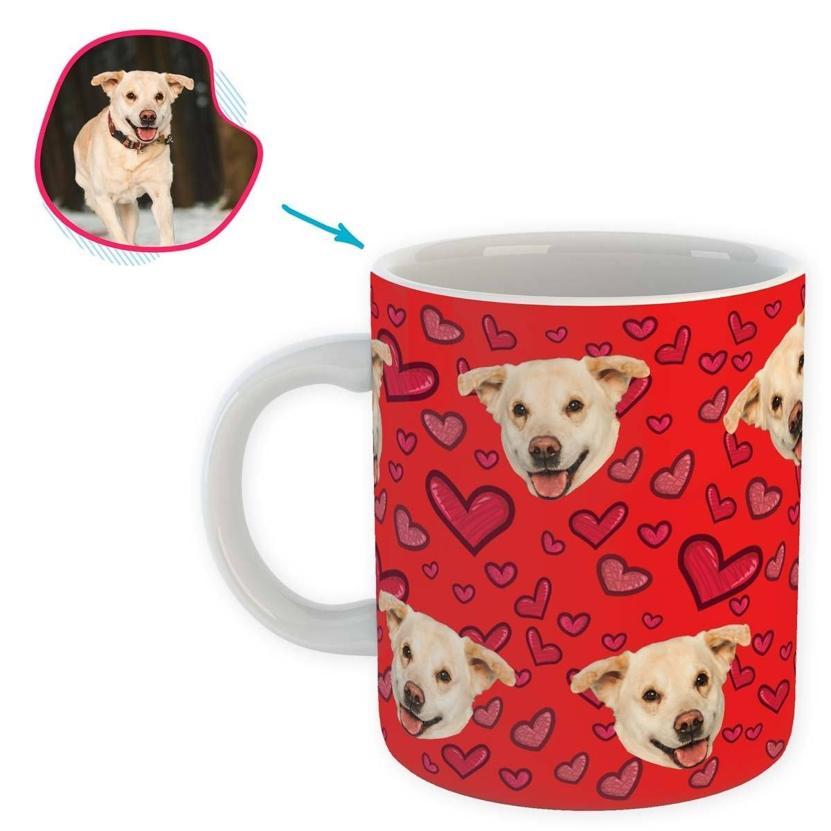 red Heart mug personalized with photo of face printed on it