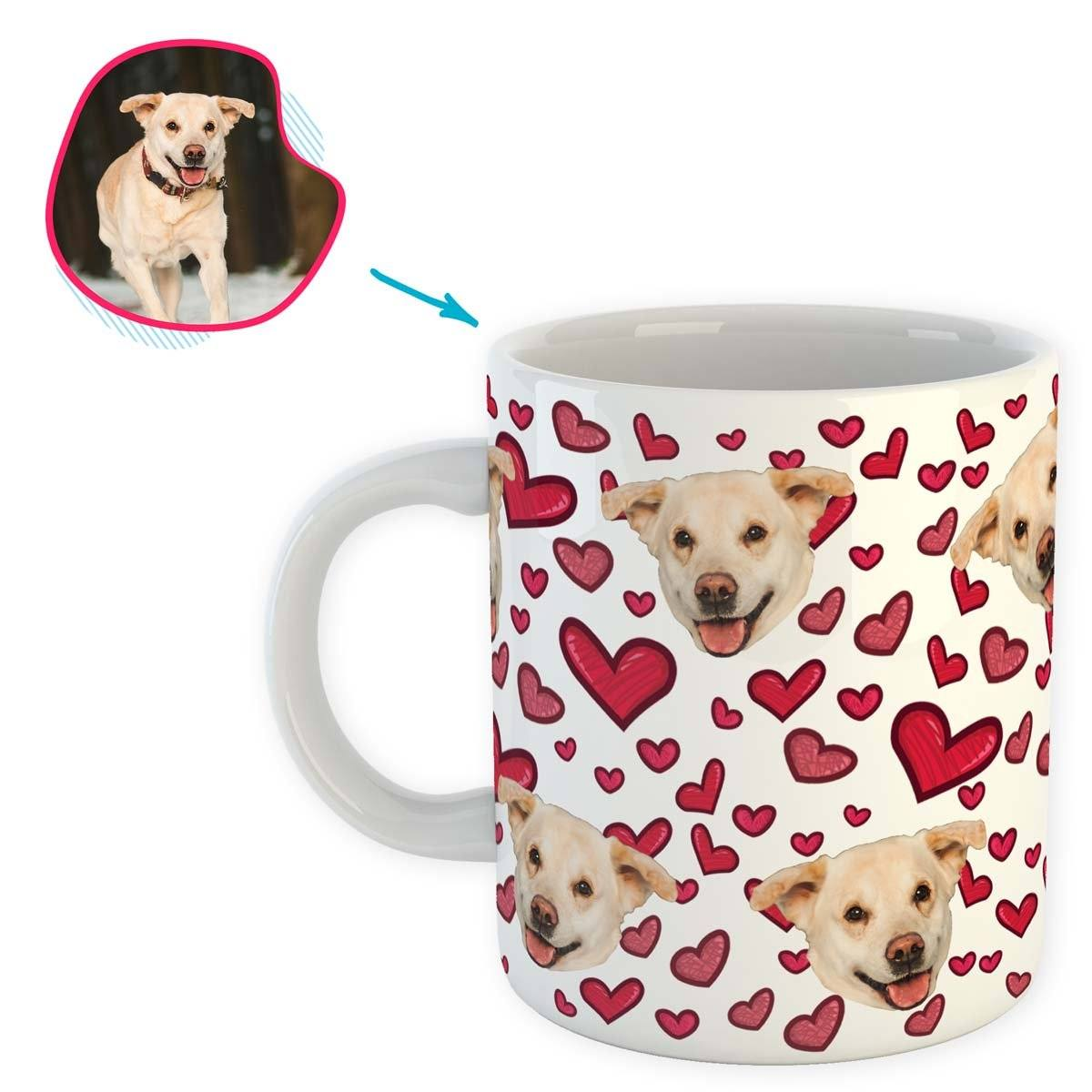 white Heart mug personalized with photo of face printed on it