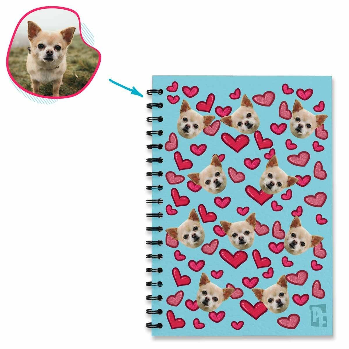 blue Heart Notebook personalized with photo of face printed on them