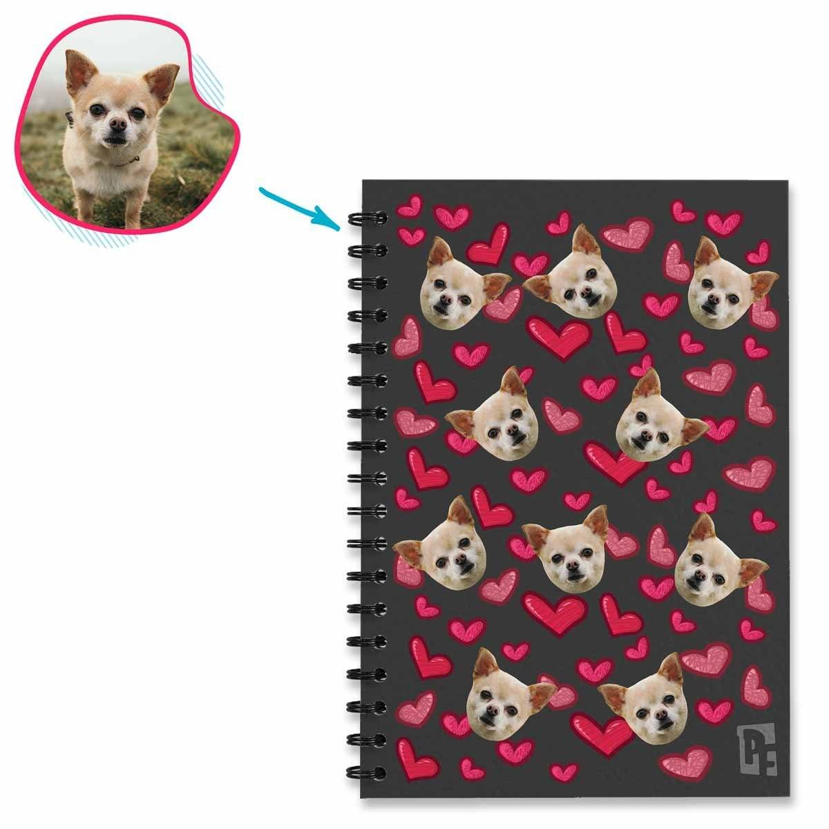 dark Heart Notebook personalized with photo of face printed on them