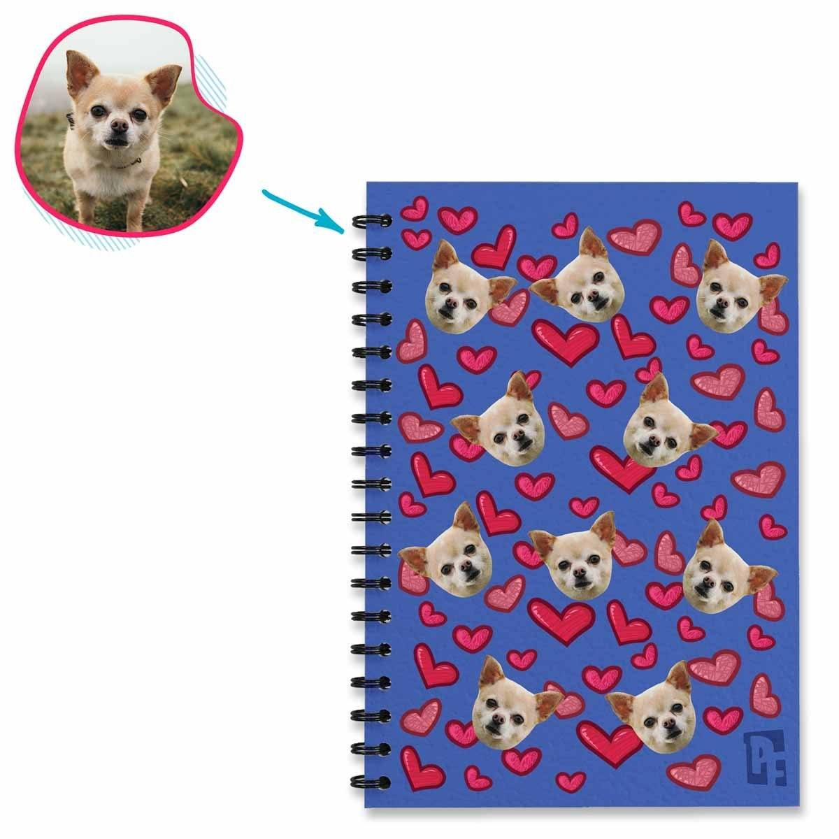 darkblue Heart Notebook personalized with photo of face printed on them