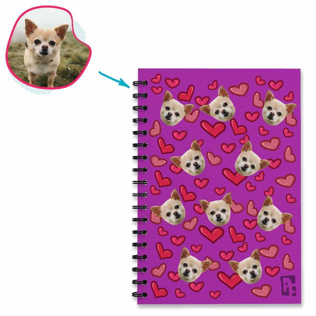 purple Heart Notebook personalized with photo of face printed on them