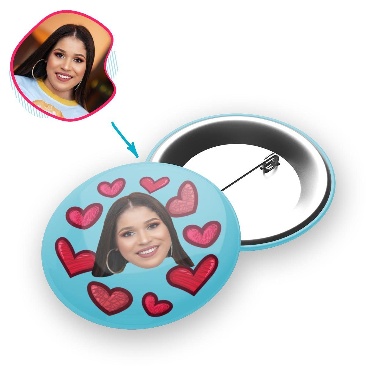 blue Heart pin personalized with photo of face printed on it
