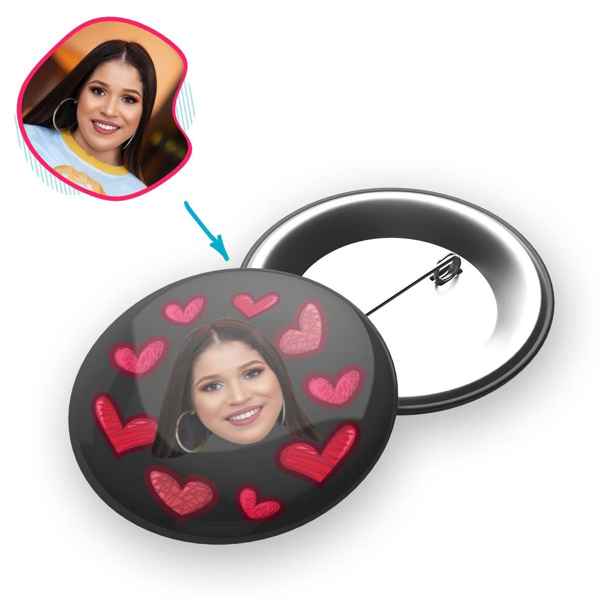 dark Heart pin personalized with photo of face printed on it