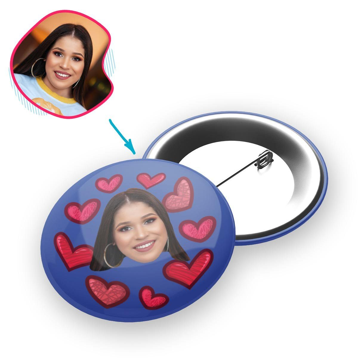 darkblue Heart pin personalized with photo of face printed on it