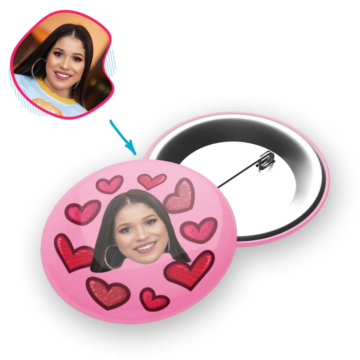 Heart Personalized Pin Button