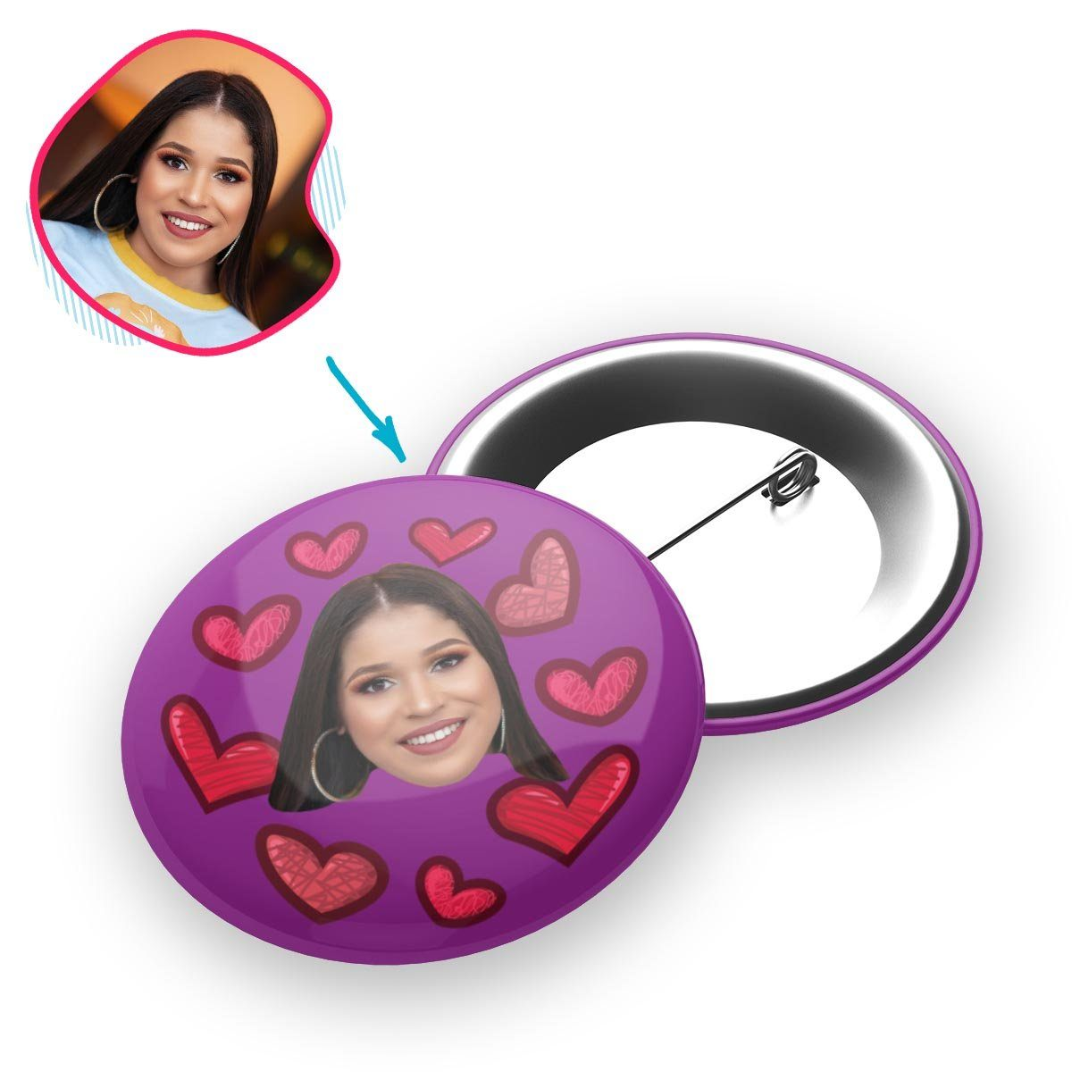 purple Heart pin personalized with photo of face printed on it