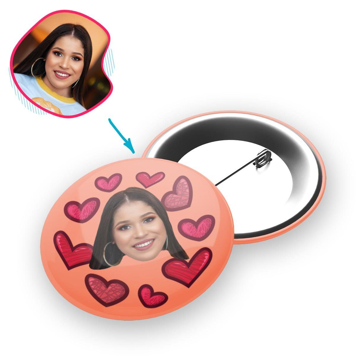 salmon Heart pin personalized with photo of face printed on it