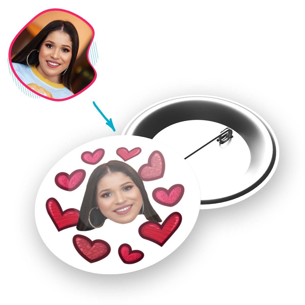 white Heart pin personalized with photo of face printed on it