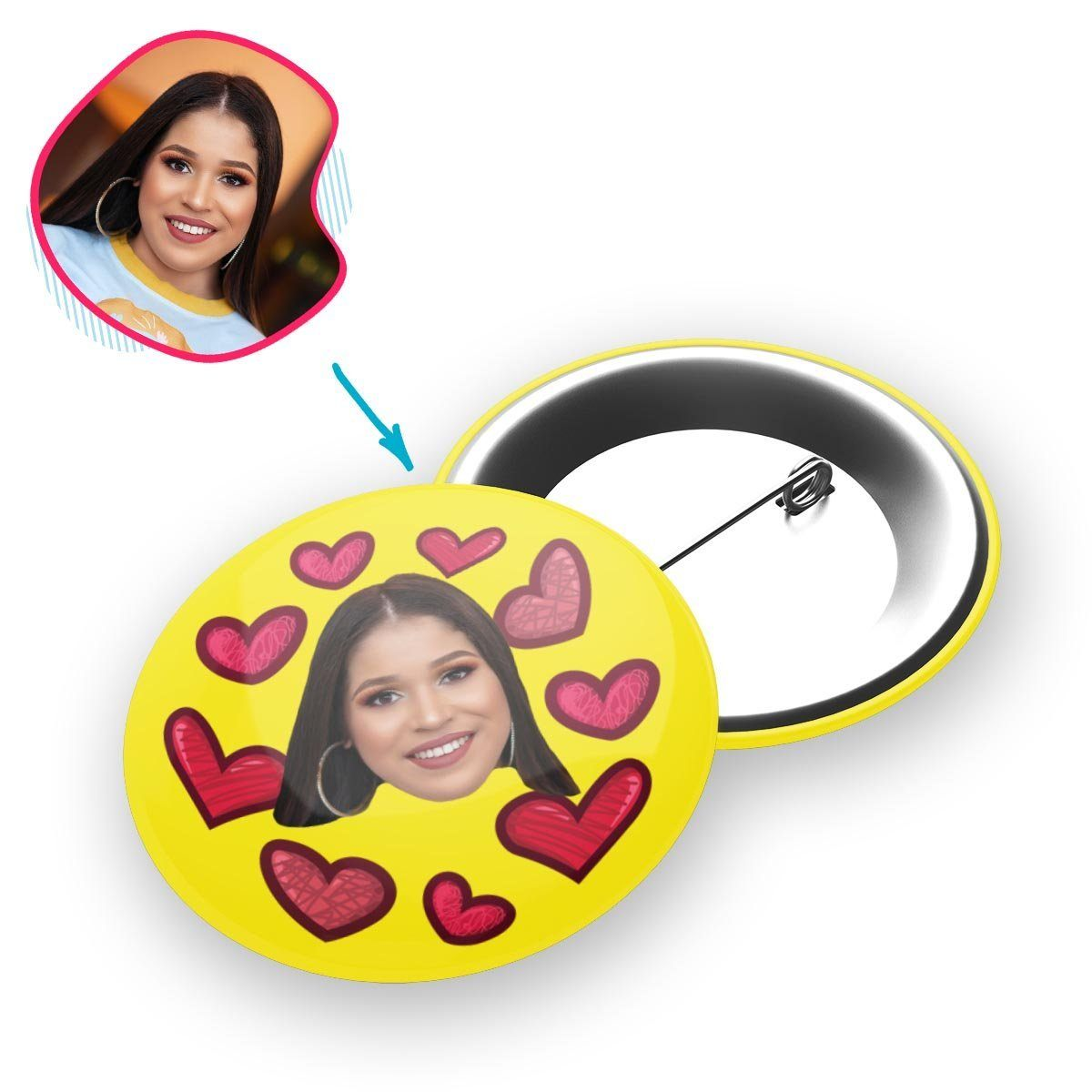 yellow Heart pin personalized with photo of face printed on it