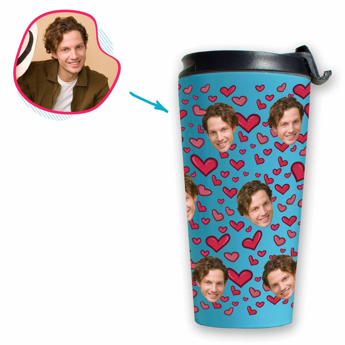 blue Heart travel mug personalized with photo of face printed on it