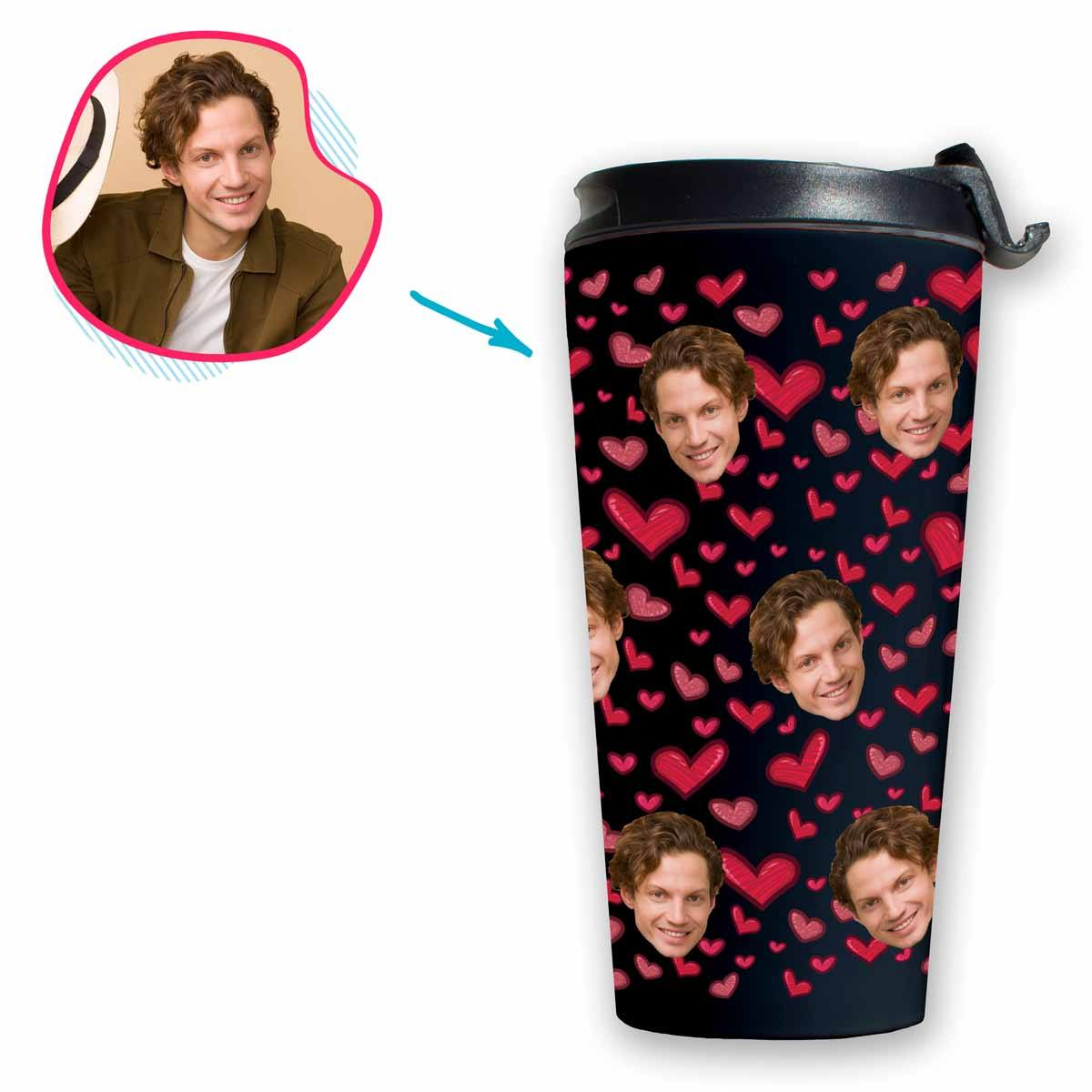 dark Heart travel mug personalized with photo of face printed on it