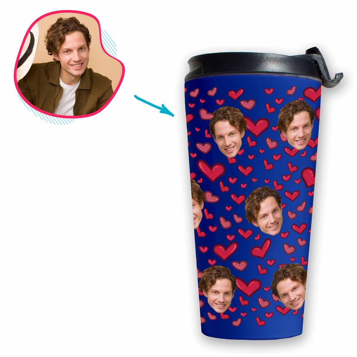 darkblue Heart travel mug personalized with photo of face printed on it