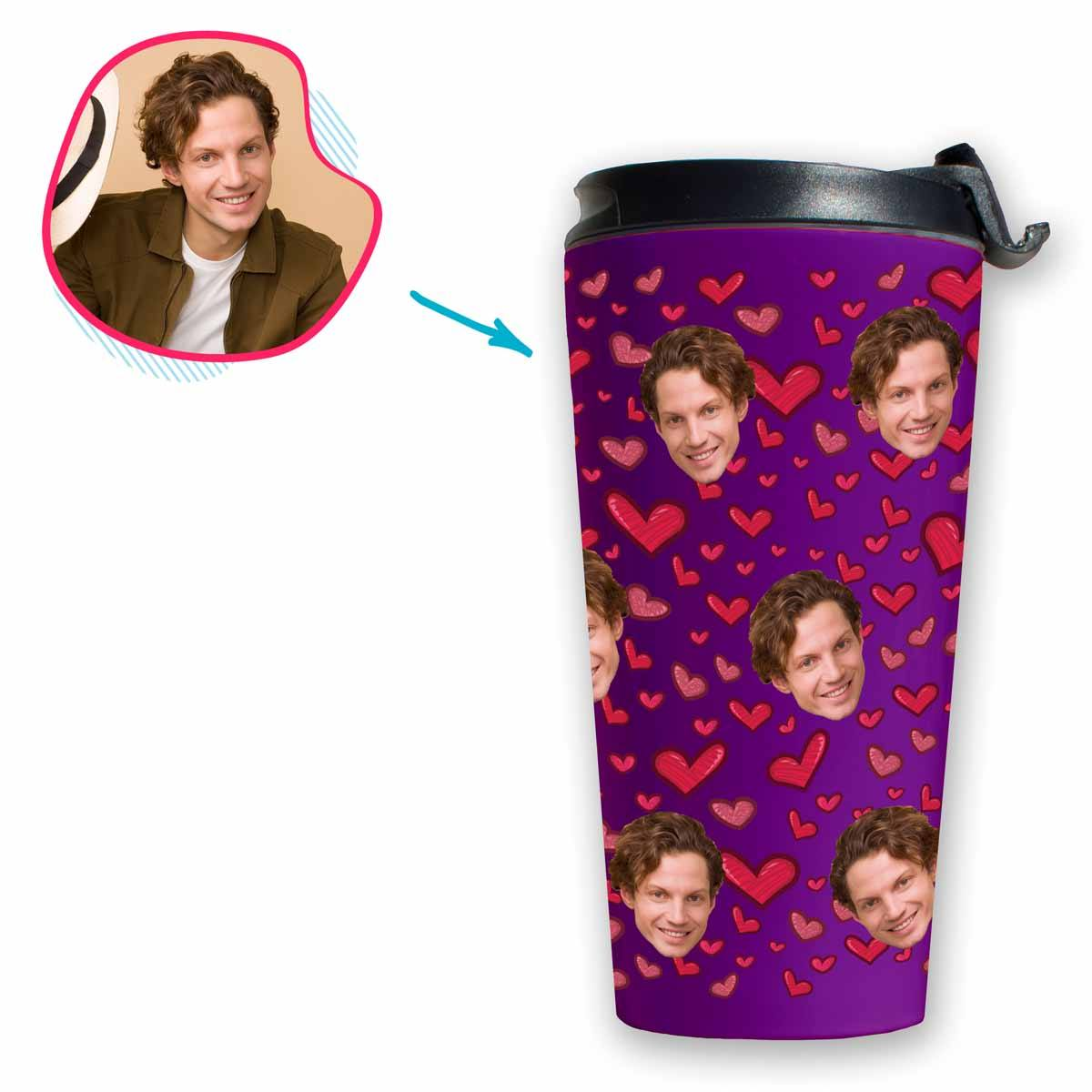 purple Heart travel mug personalized with photo of face printed on it