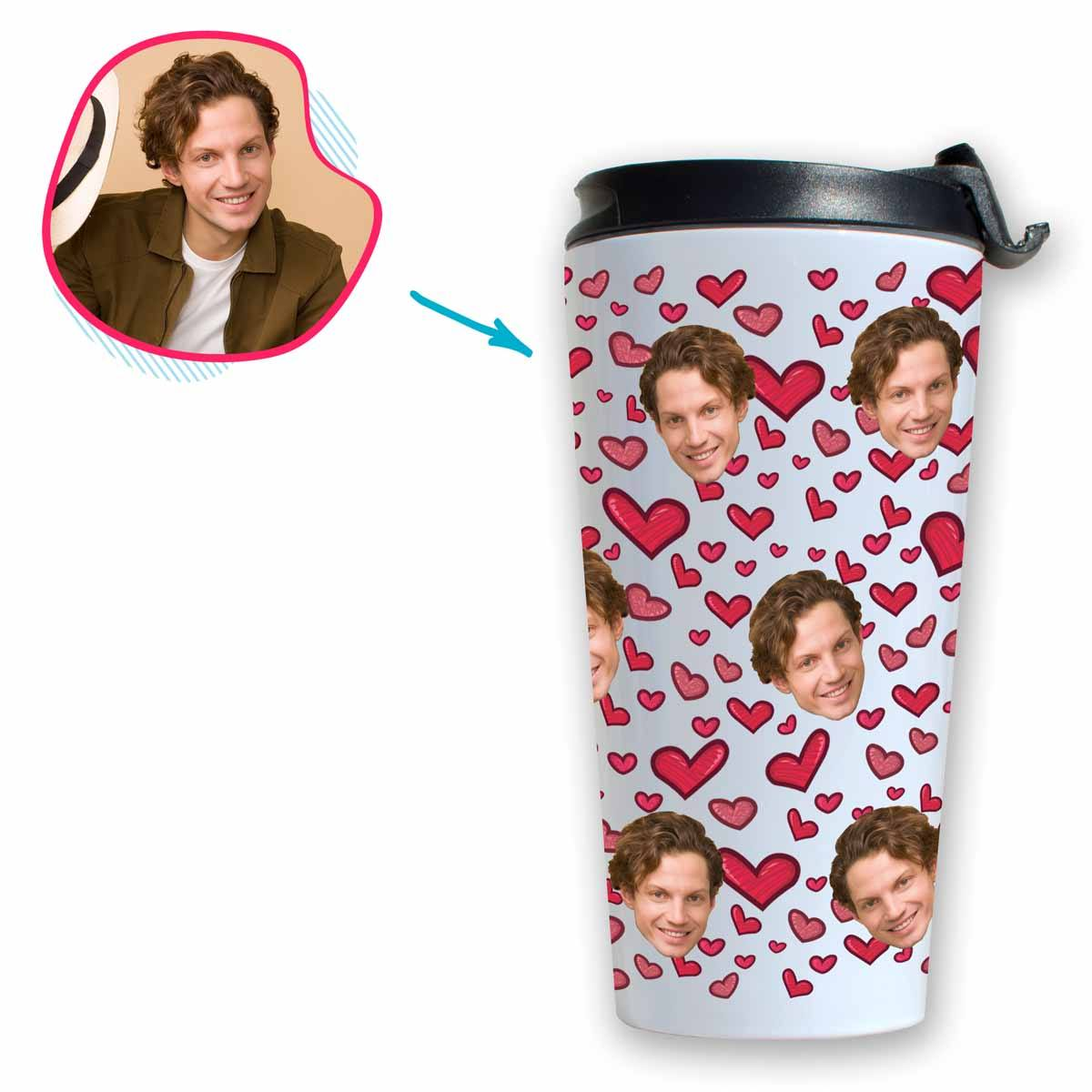 white Heart travel mug personalized with photo of face printed on it
