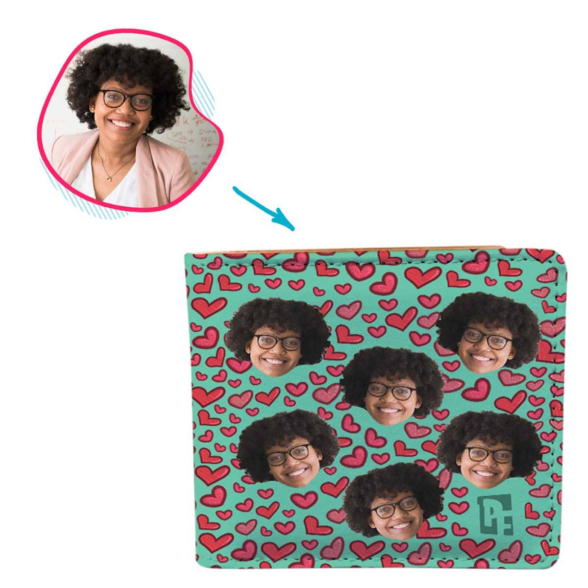 mint Heart wallet personalized with photo of face printed on it
