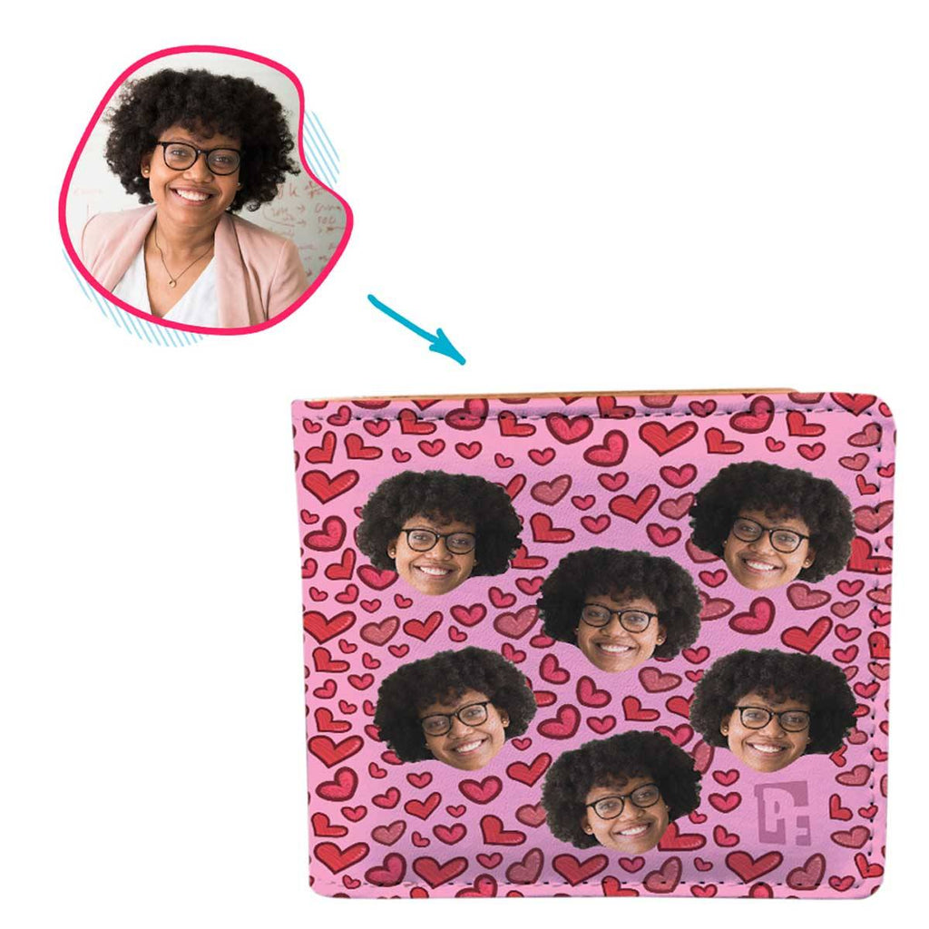 pink Heart wallet personalized with photo of face printed on it