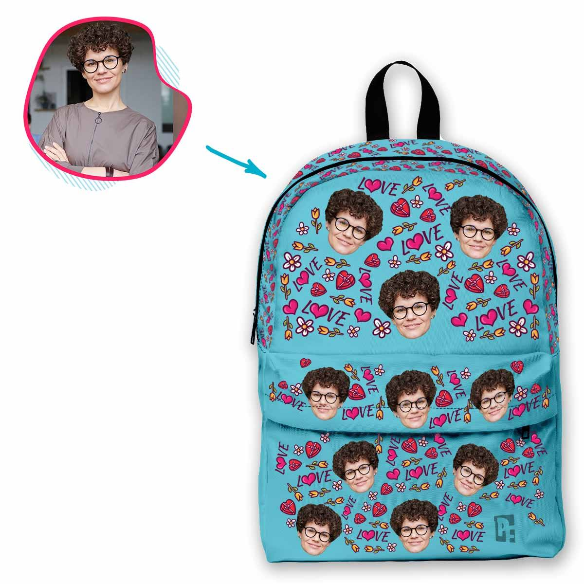 blue Hearts and Flowers classic backpack personalized with photo of face printed on it