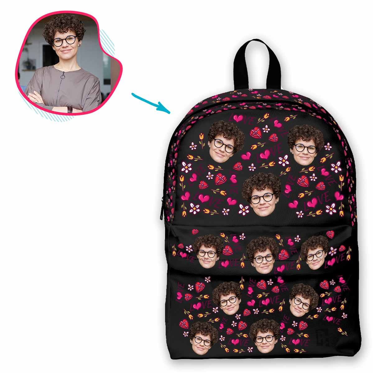 dark Hearts and Flowers classic backpack personalized with photo of face printed on it