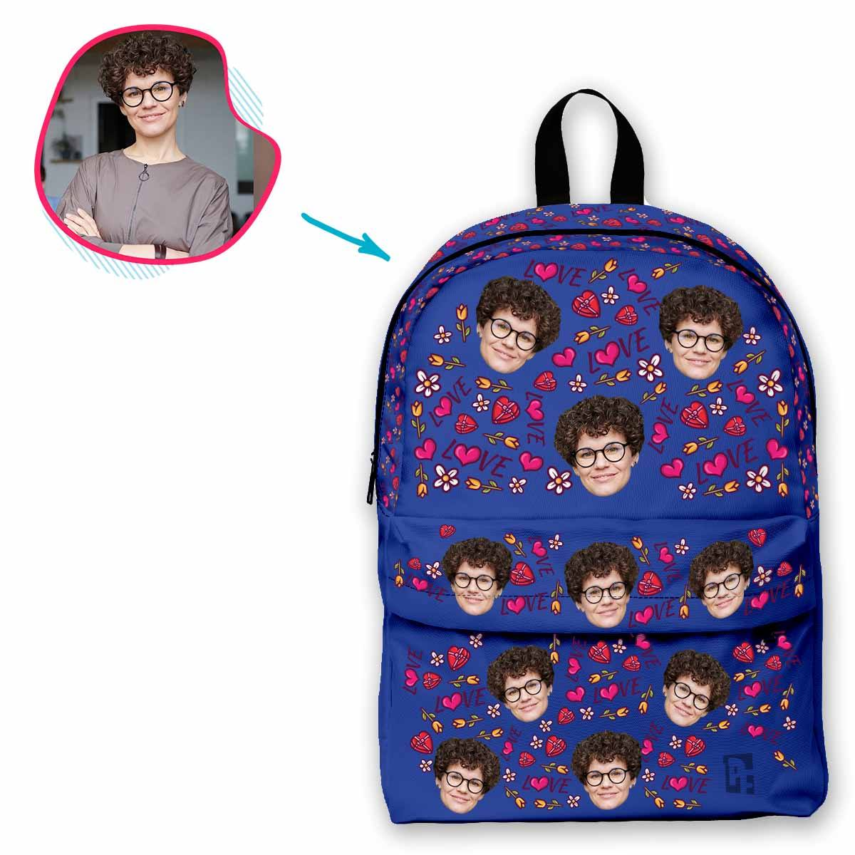 darkblue Hearts and Flowers classic backpack personalized with photo of face printed on it