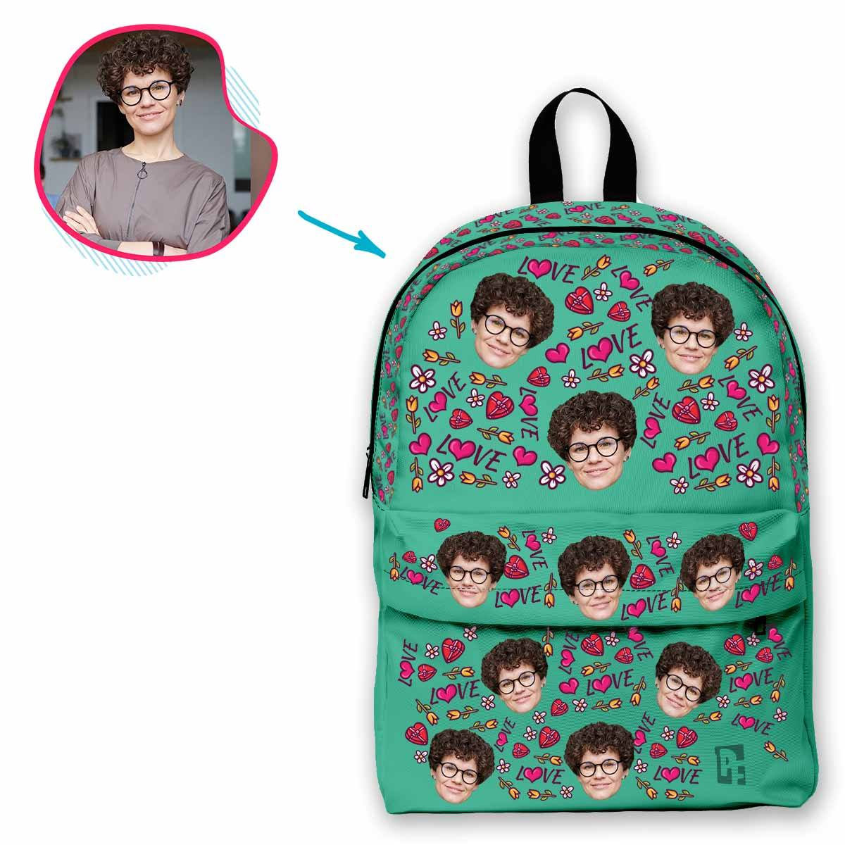 mint Hearts and Flowers classic backpack personalized with photo of face printed on it