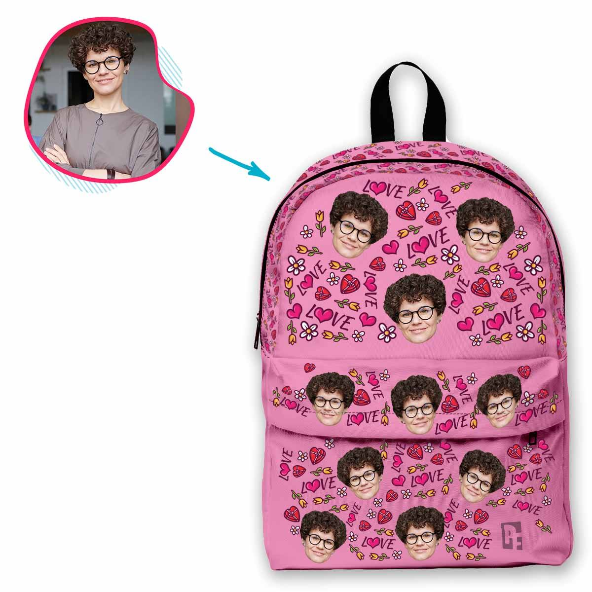pink Hearts and Flowers classic backpack personalized with photo of face printed on it
