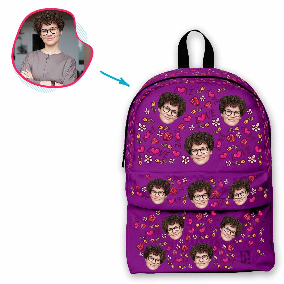 purple Hearts and Flowers classic backpack personalized with photo of face printed on it