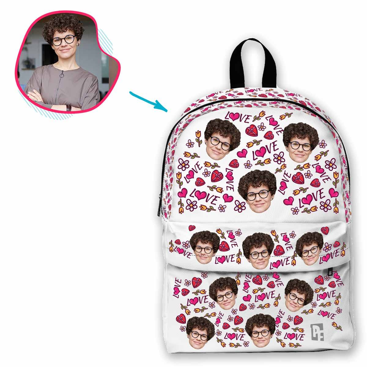 white Hearts and Flowers classic backpack personalized with photo of face printed on it
