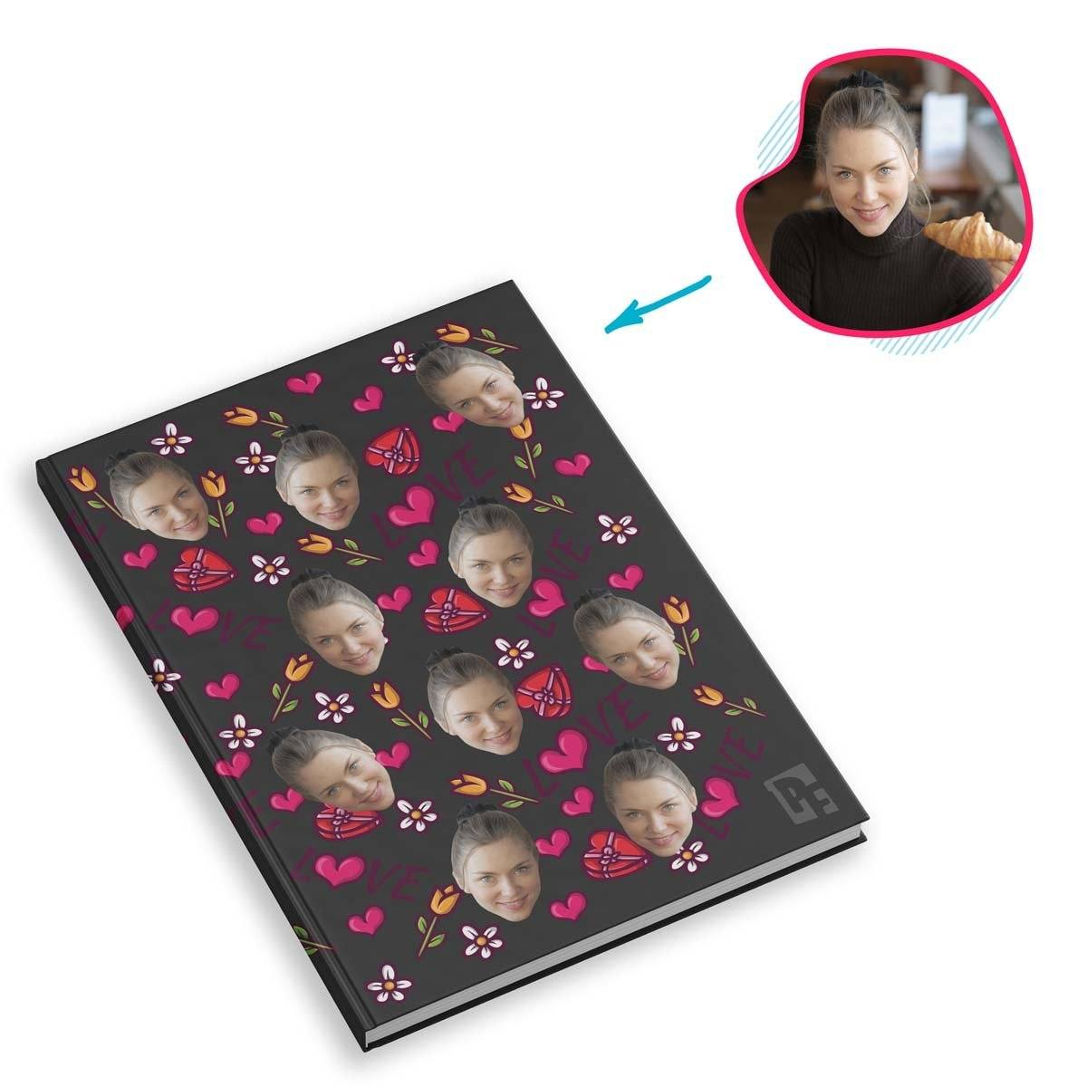 dark Hearts and Flowers Notebook personalized with photo of face printed on them