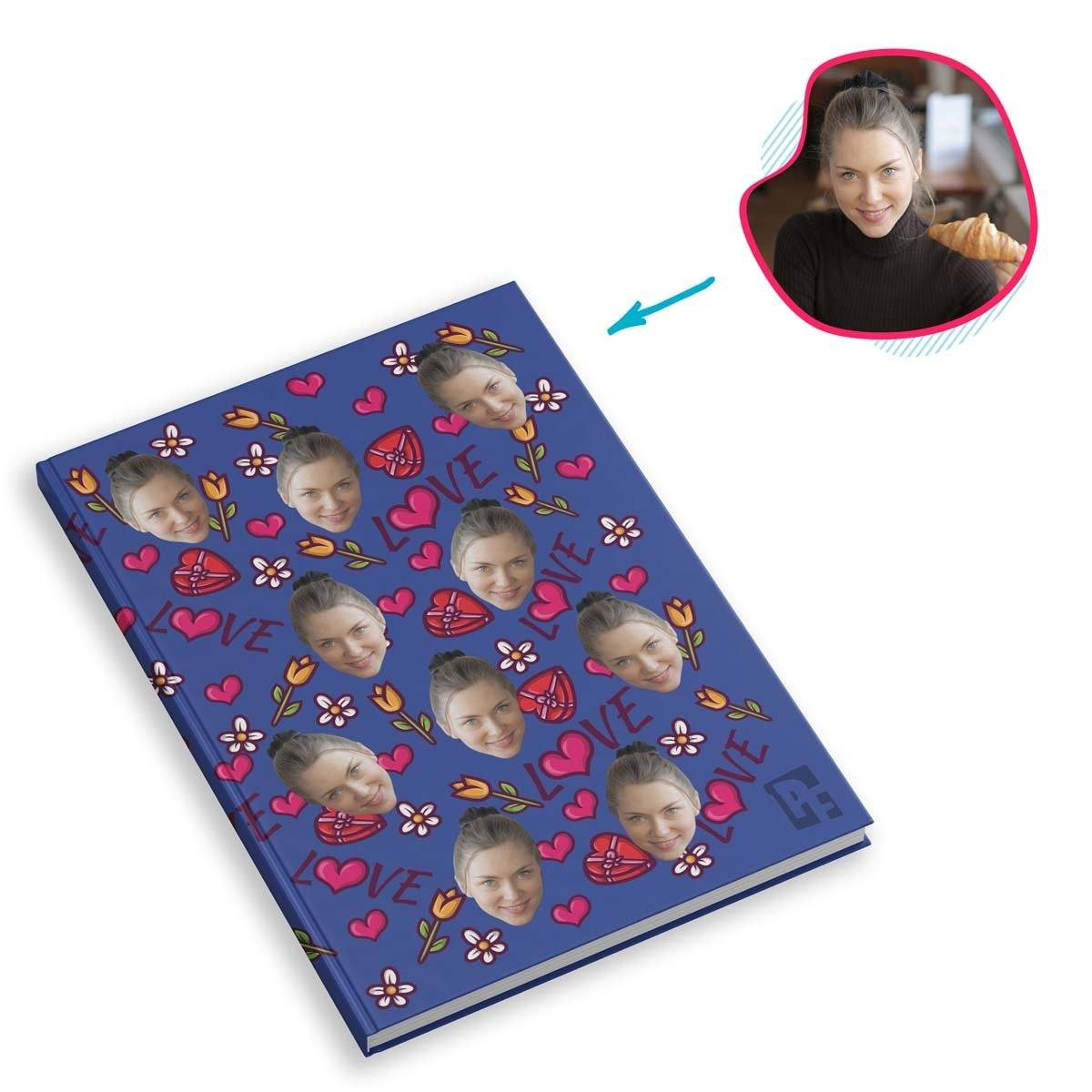 darkblue Hearts and Flowers Notebook personalized with photo of face printed on them