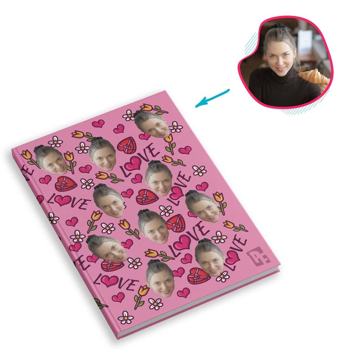 pink Hearts and Flowers Notebook personalized with photo of face printed on them
